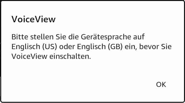 Kindle VoiceView Gerätesprache