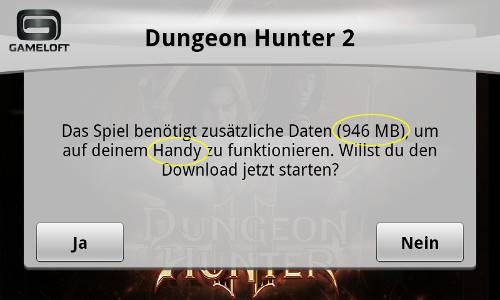Dungeon Hunter Download Meldung